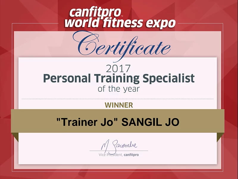 Personal training specialist of the year certificate