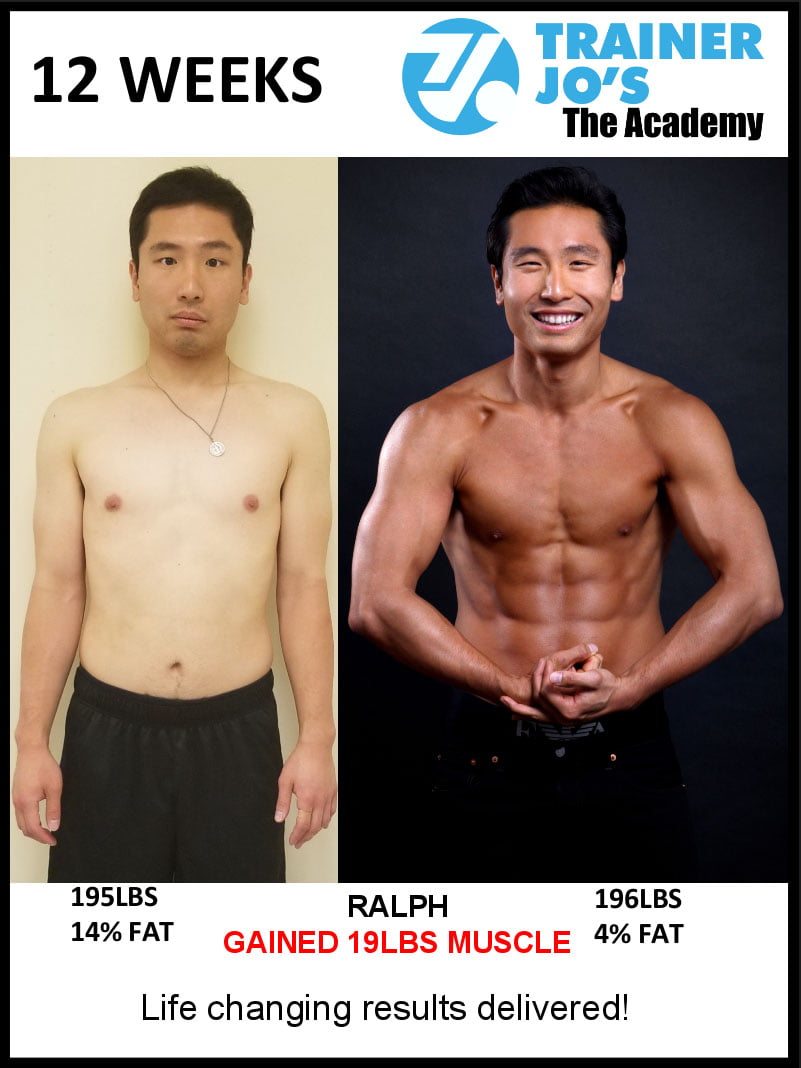 Before and after pictures of Ralph gaining nearly 20 pounds of pure muscle