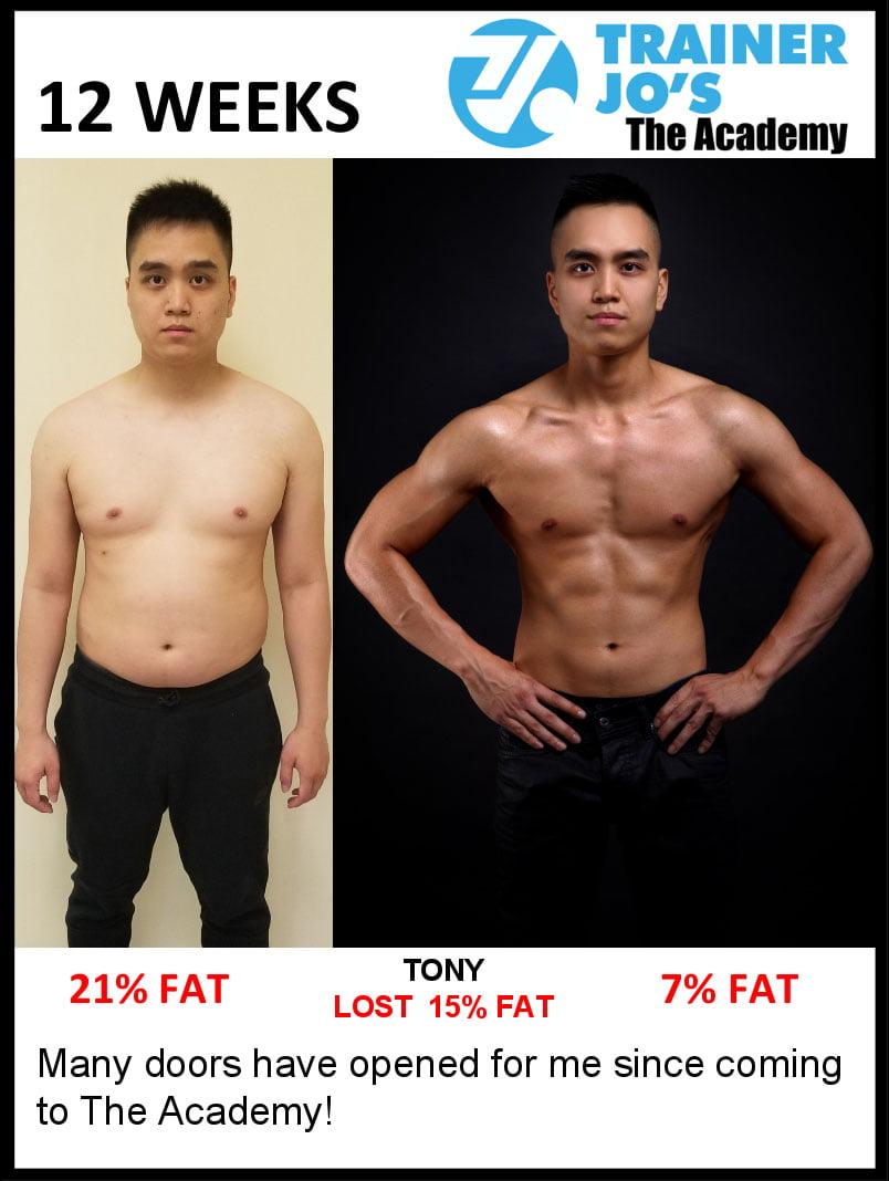 Tony slims down half of his body fat percentage