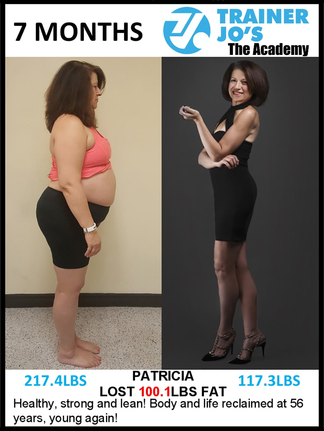 results of personal training with older woman losing more than 100 pounds of pure fat