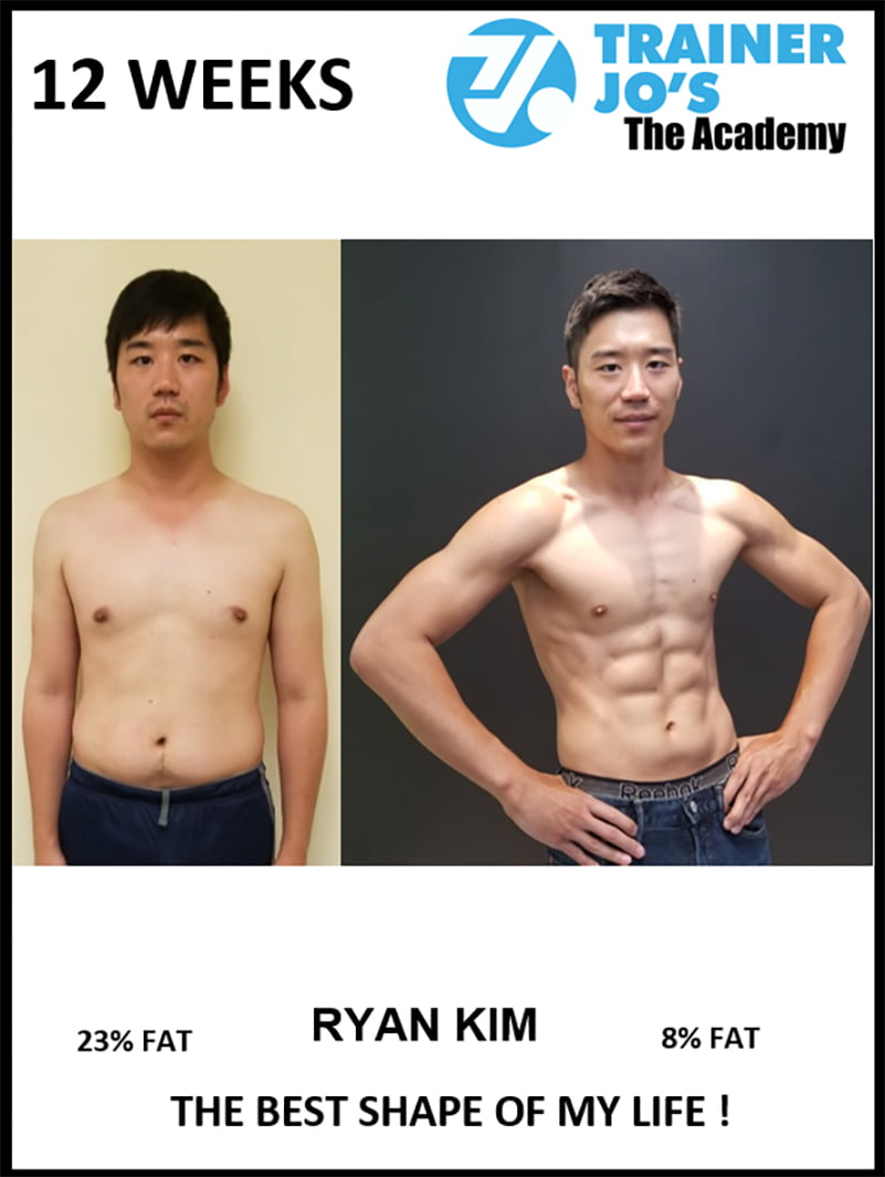 before and after pictures of Shin implementing a healthy lifestyle with help of his trainer